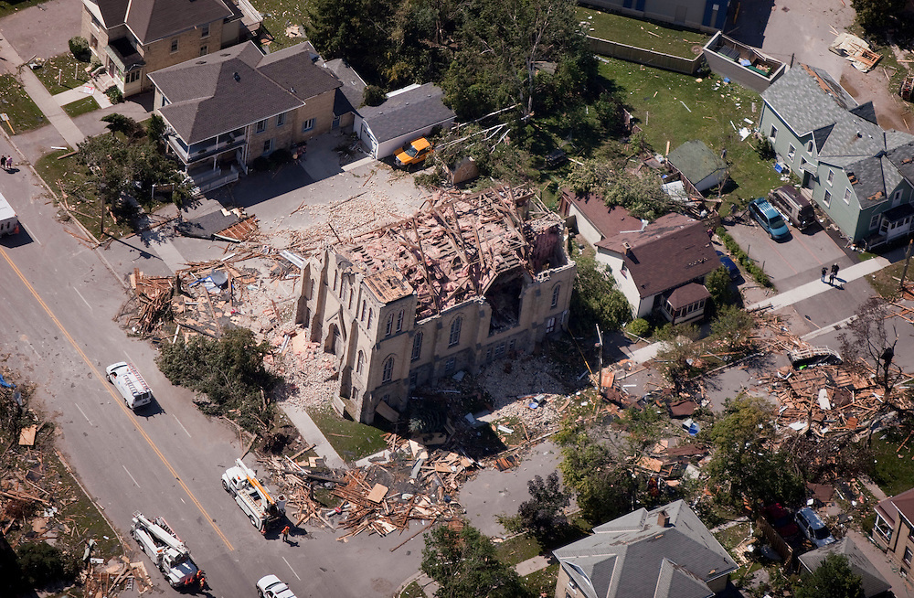 A church in downtown Goderich, Ontario sits in ruins Monday, August 22, 2011, after a tornado ripped through the town Sunday killing one person.<br /> THE CANADIAN PRESS/ Geoff Robins