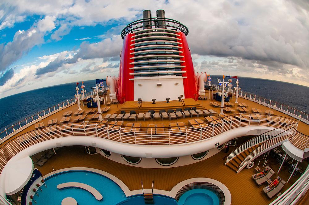 Art deco design of the new Disney Dream cruise ship, Disney Cruise Line, sailing between Florida and the Bahamas