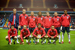 BIRMINGHAM, ENGLAND - Monday, October 13, 2008: England players line-up before the UEFA European Under-21 Championship Play-Off 2nd Leg match against Wales at Villa Park. Back row L-R: goalkeeper Joe Hart, David Wheater, Gabriel Agbonlahor, Michael Mancienne, Adam Johnson, Lee Cattermole, Tom Huddlestone. Front row L-R: James Milner, Jamie O'Hara, Stephen Taylor, Mark Noble. (Photo by Gareth Davies/Propaganda)