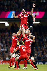 Georgia Lock Giorgi Chkhaidze wins a lineout - Mandatory byline: Rogan Thomson/JMP - 07966 386802 - 02/10/2015 - RUGBY UNION - Millennium Stadium - Cardiff, Wales - New Zealand v Georgia - Rugby World Cup 2015 Pool C.