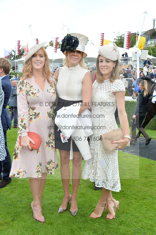 Left to right, Sarah-Jane Mee, Nadja Swarovski and Natalie Pinkham at the Qatar Goodwood Festival, Goodwood, West Sussex England. 3 August 2017.<br /> Photo by Dominic O'Neill/SilverHub 0203 174 1069 sales@silverhubmedia.com