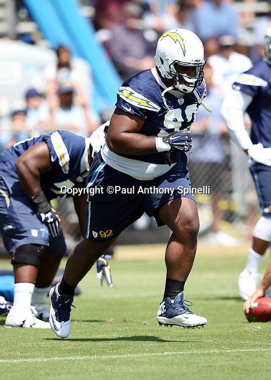 San Diego Chargers nose tackle Brandon Mebane (92) sprints up field during a drill during the Chargers 2016 NFL minicamp football practice held on Tuesday, June 15, 2016 in San Diego. (©Paul Anthony Spinelli)