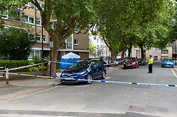© Licensed to London News Pictures. 09/09/2019. London, UK. A forensic tent sits inside a large police cordon on Belmont Street in Camden after a woman was fatally stabbed. Police were called at 23:13BST on Sunday 08/09/2019 to reports of a stabbing on Belmont Street. Metropolitan Police attended and found a woman suffering from a stab injury. The woman was pronounced dead at the scene at 23:55BST. Photo credit: Peter Manning/LNP