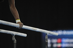 October 12, 2018 - Buenos Aires, Buenos Aires, Argentina - An athlete performs at the parallel bars as part of  the Men's All Around competition during the Buenos Aires 2018 Youth Olympic Games. (Credit Image: © Patricio Murphy/ZUMA Wire)