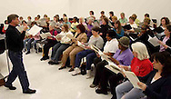 Hank Dahlman leads the women of the Dayton Philharmonic Chorus as they rehearse for their upcoming performance of Mahler's Third Symphony, Tuesday, January 2, 2007.