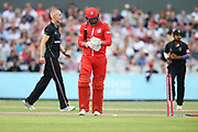 Lancashires Arron Lilley bowled during the Vitality T20 Blast North Group match between Lancashire Lightning and Leicestershire Foxes at the Emirates, Old Trafford, Manchester, United Kingdom on 3 August 2018. Picture by George Franks.