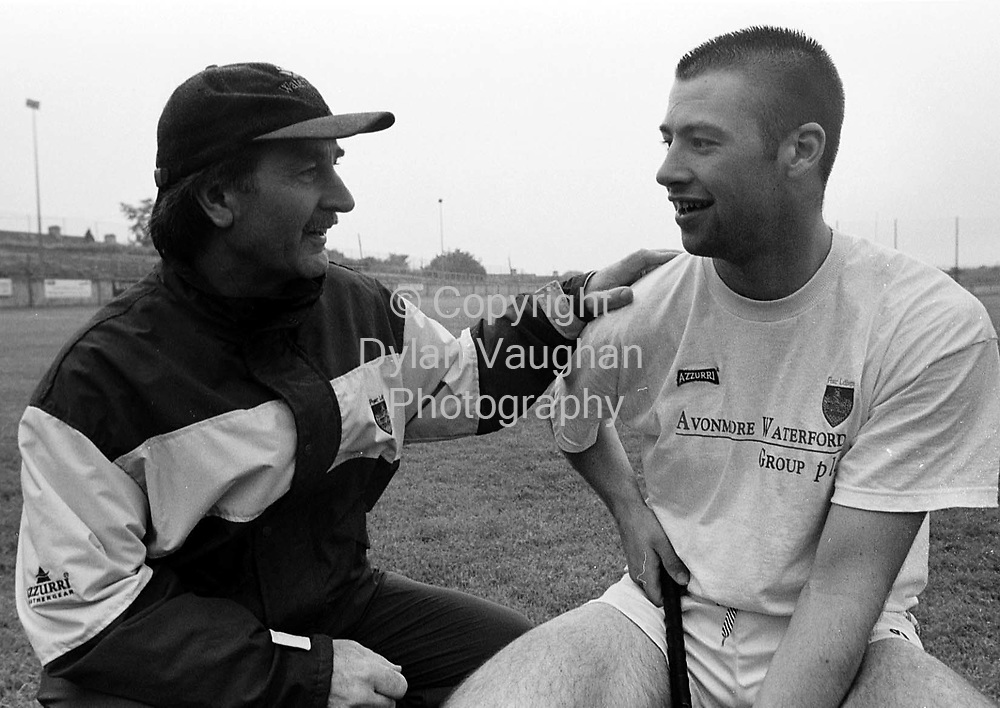 WATERFORDS GER MCCARTHY PICTURED TALKING TO DAN SHANAHAN DURING TRAINING AT WALSH PARK IN WATERFORD .PICTURE DYLAN VAUGHAN.