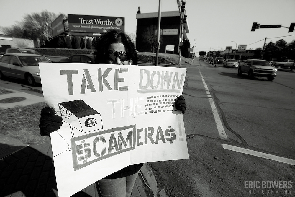 Protest of Red Light Traffic Cameras implemented in Kansas City Missouri, January 28, 2012.