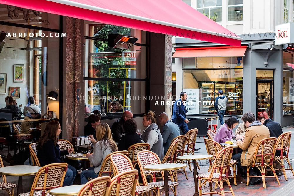 A laneway cafe on Goldie Lane in Melbourne Victoria Australia