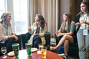 From left, Shayna Royal, Elizabeth Papas, Ryan Teghtmeyer and Olivia Musci talk during the networking hour following the 2016 Schey Sales Symposium held in Baker Center on November 3, 2016.