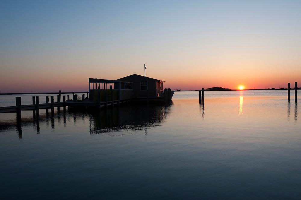 Smith Island crab shack at sunset