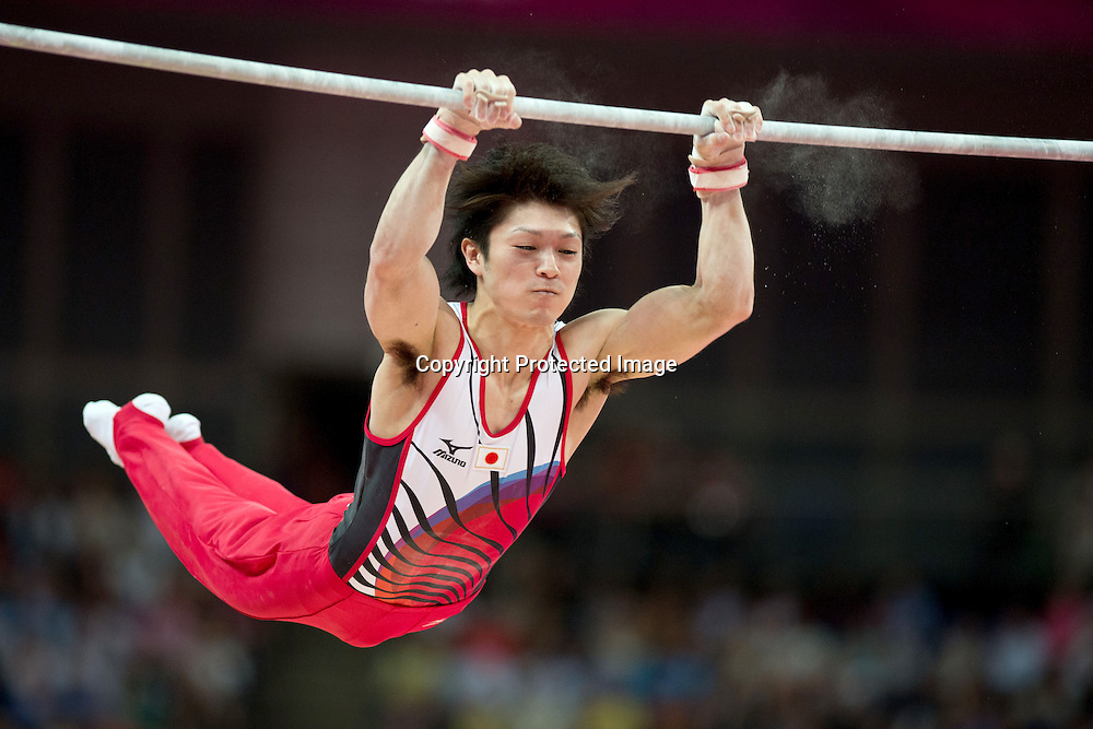 Kohei Uchimura (JPN), <br /> AUGUST 1, 2012 - Artistic Gymnastics : <br /> Men's Individual All-Around Horizontal Bar <br /> at North Greenwich Arena during the London 2012 Olympic Games in London, UK. <br />   (Photo by Enrico Calderoni/AFLO SPORT)