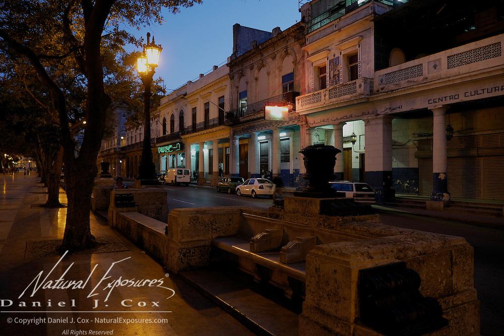 Early evening on the  Paseo del Prado Centro Habana and Old Havana, Cuba.