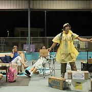 AUGUST 27, 2018--Cata&ntilde;o---PUERTO RICO--<br /> Actor Maximiliano Rivas, in yellow poncho, during a performance of La Familia Perez in the Pueblo sector of Cata&ntilde;o.<br /> (Photo by Angel Valentin/Freelance)