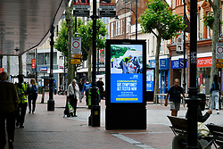 Broad street pedestrianised area showing signage relating to Covid-19. Easing of Coronavirus lockdown, Reading, UK 12 June 2020