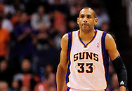 Feb. 22, 2012; Phoenix, AZ, USA; Phoenix Suns forward Grant Hill (33) reacts on the court against the Golden State Warriors at the US Airways Center. The Warriors defeated the Suns 106 - 104. Mandatory Credit: Jennifer Stewart-US PRESSWIRE..