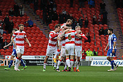 Doncaster Celebrate Andy Butlers Goal, its 1-1 at the Sky Bet League 1 match between Doncaster Rovers and Wigan Athletic at the Keepmoat Stadium, Doncaster, England on 16 April 2016. Photo by Stephen Connor.