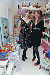 Left to right, JASMINE GUINNESS and HONEY BOWDREY at the opening of the new HoneyJam children's store at 2 Blenheim Crescent, London W11 on 7th July 2011.