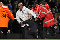 An Everton fan is pulled from the crowd by the stewards following the second Everton goal. West Ham United Vs Everton. Barclays Premier League. Upton Park. London. 08/11/08 Credit Colorsport/Garry Bowden