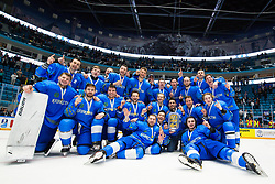 Team Kazakhstan (first place) at ceremony after ice hockey match between Kazakhstan and Hungary at IIHF World Championship DIV. I Group A Kazakhstan 2019, on May 5, 2019 in Barys Arena, Nur-Sultan, Kazakhstan. Photo by Matic Klansek Velej / Sportida