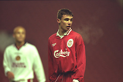 LIVERPOOL, ENGLAND - Tuesday, January 7, 1997: Liverpool's Jon Newby in action against Manchester United during the FA Youth Cup match at Anfield. United won 2-1. (Pic by David Rawcliffe/Propaganda)