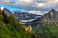 Bird Woman Falls between Mountain Oberlin and Cannon in Glacier National Park, Montana, USA