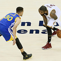 10 June 2016: Golden State Warriors guard Stephen Curry (30) defends on Cleveland Cavaliers guard Kyrie Irving (2) during the Golden State Warriors 108-97 victory over the Cleveland Cavaliers, during Game Four of the 2016 NBA Finals at the Quicken Loans Arena, Cleveland, Ohio, USA.
