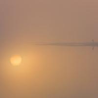 Misty Sunrise with golden Sun Aura Water Reflection County Kerry Ireland / ws038