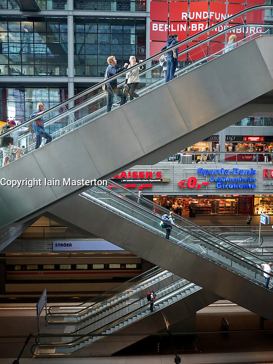 Interior view of escalators at Hauptbahnhof or main railway station in Berlin Germany