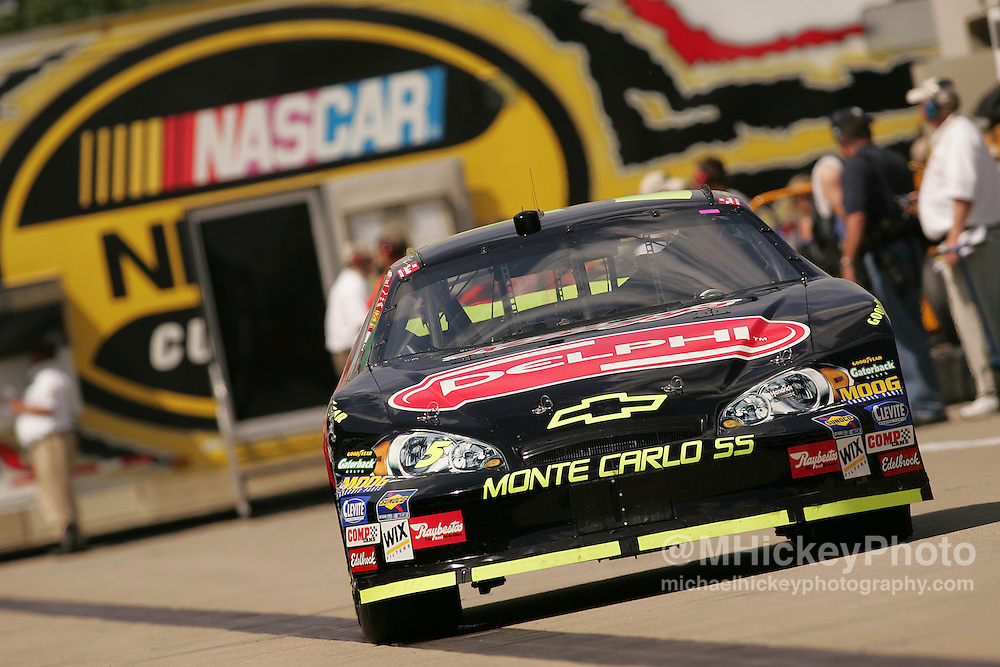 Kyle Busch heads back out to practice for the Allstate 400 at the Brickyard Aug 5, 2006.