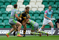 Josh Bassett of Wasps is tackled - Mandatory by-line: Robbie Stephenson/JMP - 28/07/2017 - RUGBY - Franklin's Gardens - Northampton, England - Wasps v Newcastle Falcons - Singha Premiership Rugby 7s