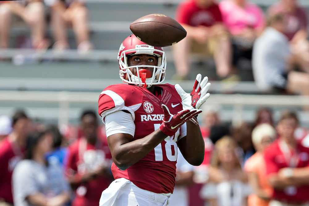 FAYETTEVILLE, AR - SEPTEMBER 5:  Cameron Colbert #18 of the Arkansas Razorbacks warms up before a game against the UTEP Miners at Razorback Stadium on September 5, 2015 in Fayetteville, Arkansas.  The Razorbacks defeated the Miners 48-13.  (Photo by Wesley Hitt/Getty Images) *** Local Caption *** Cameron Colbert