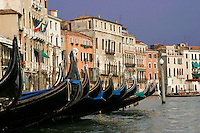 24 Jul 2004, Venice, Italy --- Gondolas on the Grand Canal --- Image by © Owen Franken/Corbis