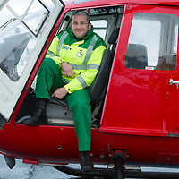 SCAA..Scotland's Charity Air Ambulance have started to train the five paramedics who will man the new Air Ambulance to be based in Perth, pictured is paramedic Andy Walker from Milnathort in a Bolkow 105 from Bond Aviation Services who have been chosen to provice the aircraft for SCAA....24.01.13<br /> For further info contact Maureen Young on 07778 779888<br /> Picture by Graeme Hart.<br /> Copyright Perthshire Picture Agency<br /> Tel: 01738 623350  Mobile: 07990 594431
