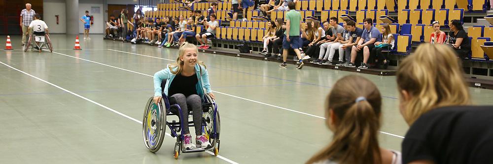 Ludwigshafen. 31.05.17 | Rolli-Sportfest<br /> Ebert Halle. Rolli-Sportfest der Ludwigshafener Schulen in der Eberthalle<br /> - Ida Fikentscher, Carl Bosch Gymnasium<br /> <br /> BILD- ID 0023 |<br /> Bild: Markus Prosswitz 31MAY17 / masterpress (Bild ist honorarpflichtig - No Model Release!)