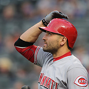 NEW YORK, NEW YORK - APRIL 25: Joey Votto #19 of the Cincinnati Reds preparing to bat during the New York Mets Vs Cincinnati Reds MLB regular season game at Citi Field on April 25, 2016 in New York City. (Photo by Tim Clayton/Corbis via Getty Images)