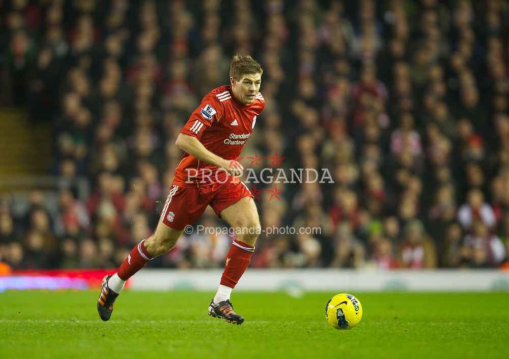 LIVERPOOL, ENGLAND - Monday, February 6, 2012: Liverpool's captain Steven Gerrard in action against Tottenham Hotspur during the Premiership match at Anfield. (Pic by David Rawcliffe/Propaganda)