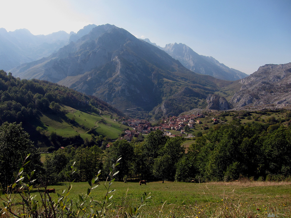 A view of the small village of Sotres, just down from the Tresviso, in the Picos de Europa national park, a hamlet famous for its goat's cheese.