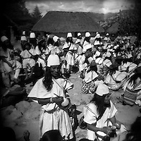 Arahuaco Indians attend a tribal meeting in Nabusimake, an important Indian village to the Arahuaco tribe in the Sierra Nevada mountains of Colombia in 2003. (Photo/Scott Dalton)