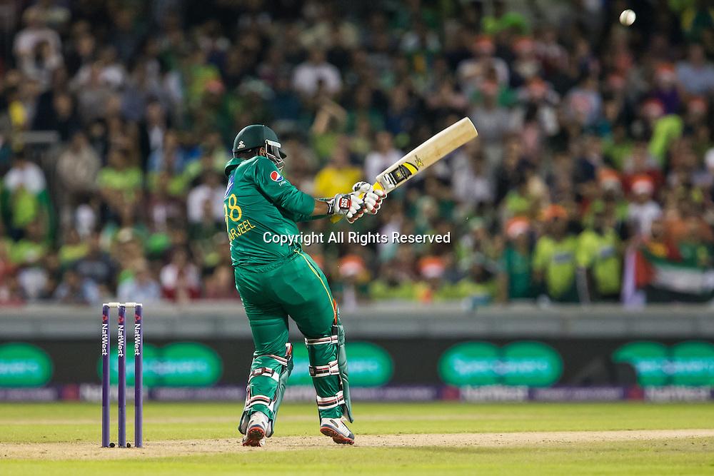 07.09.2016. Old Trafford, Manchester, England. Natwest International T20 Cricket. England Versus Pakistan. Pakistan opening batsman Sharjeel Khan pulls the ball as he hits a four.