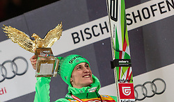 06.01.2016, Paul Ausserleitner Schanze, Bischofshofen, AUT, FIS Weltcup Ski Sprung, Vierschanzentournee, Bischofshofen, Siegerehrung Gesamtwertung, im Bild Peter Prevc (SLO, Gesamtsieger) mit der Trophäe // Winner Peter Prevc of Slovenia celebrate on overall podium of the Four Hills Tournament of FIS Ski Jumping World Cup at the Paul Ausserleitner Schanze in Bischofshofen, Austria on 2016/01/06. EXPA Pictures © 2016, PhotoCredit: EXPA/ JFK