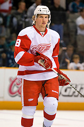 May 2, 2010; San Jose, CA, USA;  Detroit Red Wings left wing Justin Abdelkader (8) before game two of the western conference semifinals of the 2010 Stanley Cup Playoffs against the San Jose Sharks at HP Pavilion.  San Jose defeated Detroit 4-3. Mandatory Credit: Jason O. Watson / US PRESSWIRE
