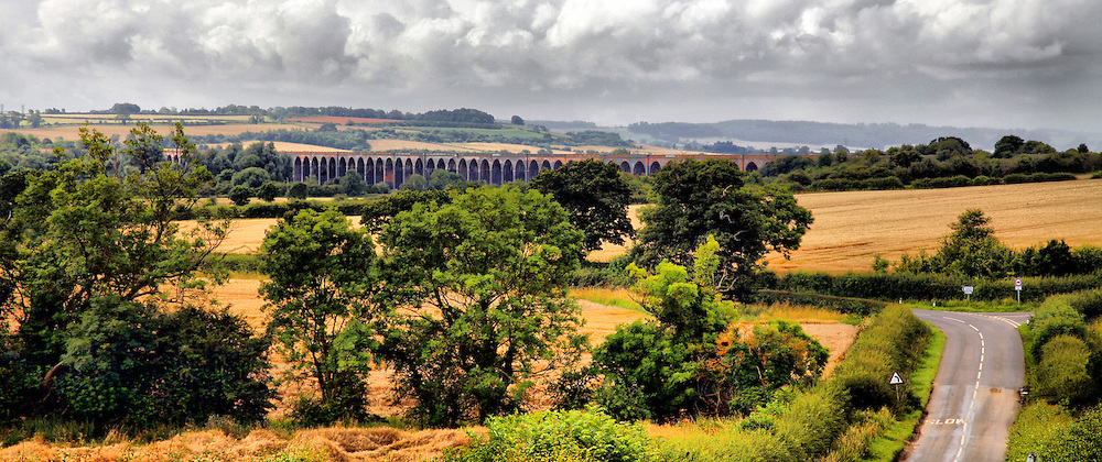 A view of Harringworth Viaduct taken looking south. The viaduct spans the Welland Valley on the border of Northamptonshire and Rutland near the village of Harringworth