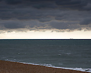 A stormy sea across the English Channel. Folkestone. Uk