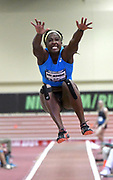 Mar 3, 3017; Albuquerque, NM, USA; Sharon Day-Monroe jumps 19-2 1/2 (5.85m) in the pentathlon long jump during the USA Indoor Track and Field championships at the Albuquerque Convention Center.