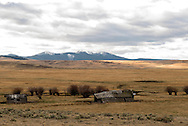 Big Hole Valley, Land of 10,000 Haystacks, old cabin and barn, Bitterroot Range, Southwest Montana