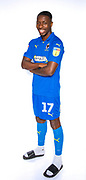 AFC Wimbledon attacker Michael Folivi (17) during the official team photocall for AFC Wimbledon at the Cherry Red Records Stadium, Kingston, England on 8 August 2019.