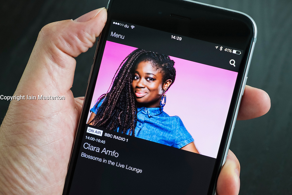 BBC IPlayer Radio streaming app showing Radio 1 on an iPhone 6 Plus smart phone