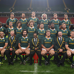 CARDIFF, WALES - NOVEMBER 12, Back Willem Alberts Pierre Spies Flip van der Merwe Jannie du Plessis Bismarck du Plessis Ruan Pienaar Middle Gio Aplon Tendai Mtawarira Zane Kirchner Francois Steyn Morne Steyn   Chiliboy Ralepelle Deon Stegmann Francois Hougaard Patrick Lambie Front Jean de Villiers Bryan Habana Dick Muir assistant coach Victor Matfield captain Peter de Villiers Head Coach Juan Smith Gary Gold assistant coach Bakkies Botha and CJ van der Linde  during the South African rugby team photo and captain's run at Millennium Stadium on November 12, 2010 in Cardiff, Wales