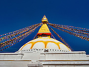 02 MARCH 2017 - KATHMANDU, NEPAL: Boudhanath Stupa in Kathmandu is the holiest site in Nepali Buddhism. It is also the center of the Tibetan exile community in Kathmandu. The Stupa was badly damaged in the 2015 earthquake but was one of the first buildings renovated. PHOTO BY JACK KURTZ